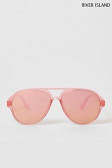 River Island Pink Bright Plastic Aviator Style Sunglasses