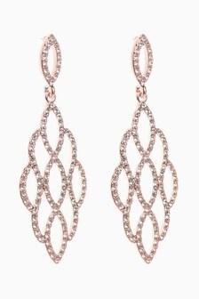 Pavé Filligree Drop Earrings