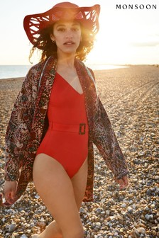 Monsoon Red Karina Belted Swimsuit