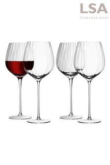 Set of 4 Aurelia Optic Red Wine Glasses by LSA International
