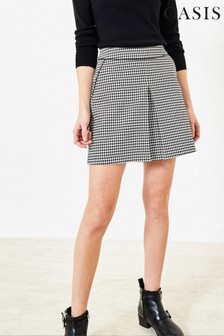 Oasis Natural Dogtooth Pleat Mini Skirt