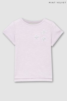 Mintie by Mint Velvet Lilac Embroidered Star T-Shirt