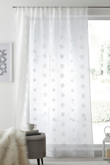White Embroidered Snowflake Slot Top Single Voile Panel