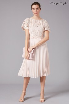 Phase Eight Pink Bettina Lace Top Pleated Bridesmaid Dress