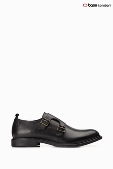 Base London® Black Shale Double Monk Strap Shoes