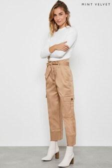 Mint Velvet Camel Tie Waist Cargo Trousers
