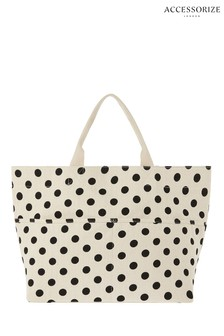 Accessorize Black Woven Polka Dot Tote