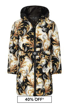 Girls White, Black & Gold Down Padded Coat