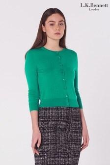 L.K.Bennett Green Bonnie Merino Wool Cardigan