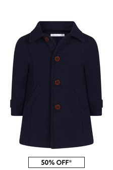Boys Navy Woven Coat