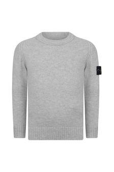 Stone Island Junior Boys Grey Knitted Jumper