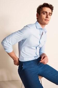 Moss London Slim Fit Blue Single Cuff Twill Eco Shirt