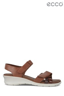 ECCO® Felicia Sandal Leather Velcro Low Wedge Sandals