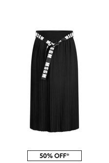Girls Black Pleated Midi Skirt