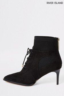 River Island Black Lace Up Knit Detail Boots