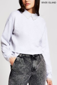 River Island Grey Boutique Collar Sweater