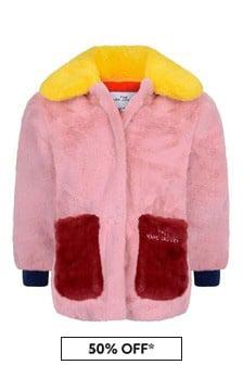 Girls Pink/Red Colourblock Faux Fur Coat