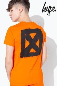 Hype. Orange Graffiti Spray Back Print T-Shirt