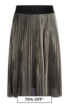 Girls Gold Pleated Skirt