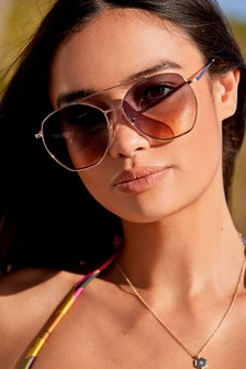 Hexagon Shape Aviator Style Sunglasses