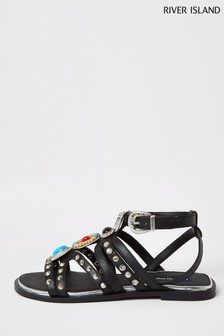River Island Black Hardware Gladiator Sandals