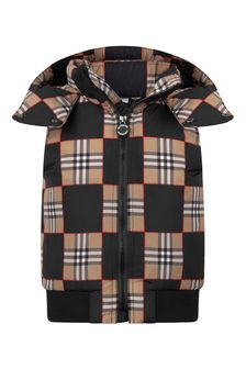 Boys Black/Beige Check Padded Gilet