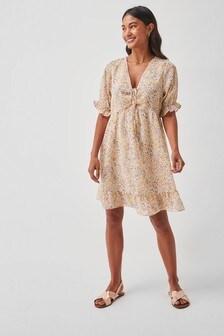 Ruched Ruffle Hem Mini Dress