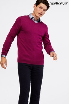 White Stuff Pink Keswick Merino V-Neck Jumper