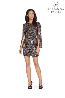 Adrianna Papell Metallic Split Sleeve Sheath Dress