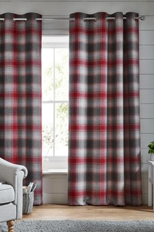 Oakley Red Check Eyelet Curtains
