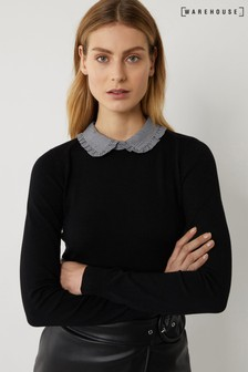 Warehouse Black Gingham Frill Collar Jumper
