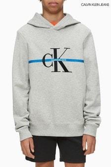 Szara bluza z kapturem w paski z monogramem Calvin Klein