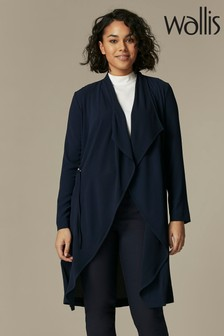 Wallis Blue Toggle Tie Waterfall Duster Jacket