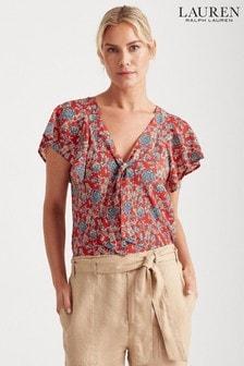 Lauren Ralph Lauren® Red Floral Print Chui Top