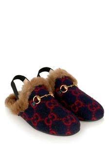 Kids Navy GG Wool Princetwon Slipper With Faux Fur