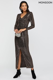 Monsoon Bronze Rhiannon Ruched Maxi Dress