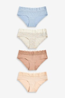 Lace Trim Cotton Blend Knickers 4 Pack