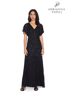Adrianna Papell Black Flutter Sleeve Beaded Gown