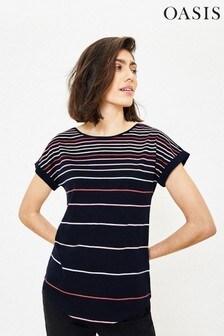 Oasis Blue Louis Rainbow Stripe T-Shirt