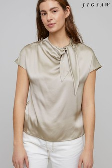 Jigsaw Grey Tie Neck Jersey Silk Front T-Shirt
