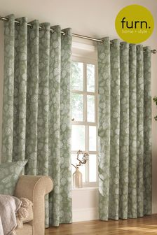 Furn Green Irwin Leaf Print Eyelet Curtains