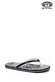 Animal Black Swish Slim Print Flip Flops