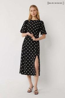 Warehouse Black Spot Puff Sleeve Midi Dress