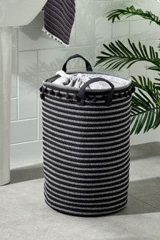 Woven Pom Pom Laundry Bag