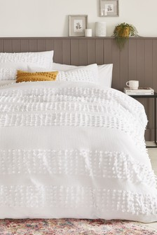 100% Cotton Harlow Tufted Duvet Cover And Pillowcase Set