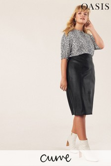 Oasis Black Curve Faux Leather Skirt