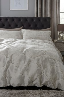Jacquard Gingko Leaf Duvet Cover and Pillowcase Set