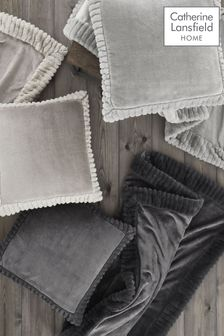 Silver Velvet & Faux Fur Trim Throw by Catherine Lansfield