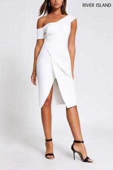 שמלת מידי עם כתף חשופה של River Island בלבן