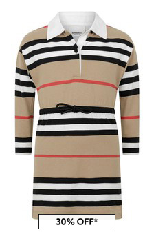 Girls Icon Stripe Cotton Jersey Dress
